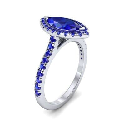 Marquise Halo Blue Sapphire Engagement Ring (0.97 CTW)