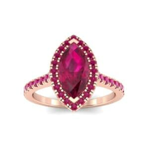Marquise Halo Ruby Engagement Ring (0.97 Carat)