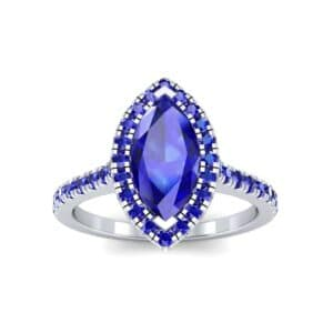 Marquise Halo Blue Sapphire Engagement Ring (0.97 Carat)
