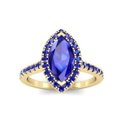 Marquise Halo Blue Sapphire Engagement Ring (0.97 CTW) Top Dynamic View