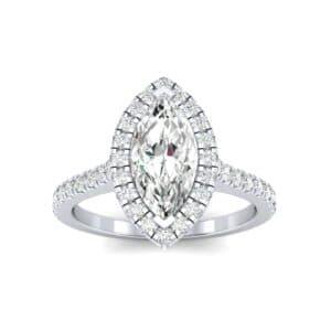 Marquise Halo Diamond Engagement Ring (0.97 Carat)