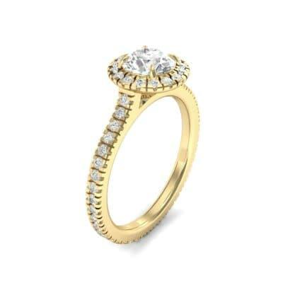 Round Halo Full Pave Diamond Engagement Ring (1.02 Carat)
