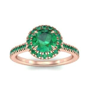 Round Halo Full Pave Emerald Engagement Ring (1.2 Carat)