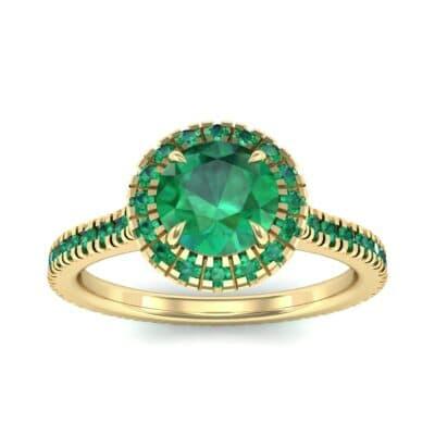 Round Halo Full Pave Emerald Engagement Ring (1.2 Carat)