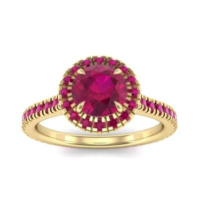 Round Halo Full Pave Ruby Engagement Ring (1.2 Carat)
