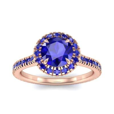 Round Halo Full Pave Blue Sapphire Engagement Ring (1.2 Carat)