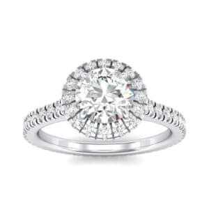 Round Halo Full Pave Diamond Engagement Ring (1.02 Carat)