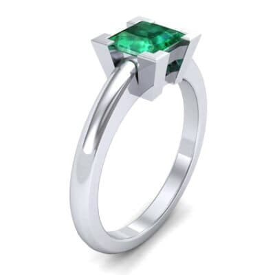 Cathedral Princess-Cut Solitaire Emerald Engagement Ring (0.65 CTW)