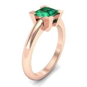 Cathedral Princess-Cut Solitaire Emerald Engagement Ring (0.67 Carat)
