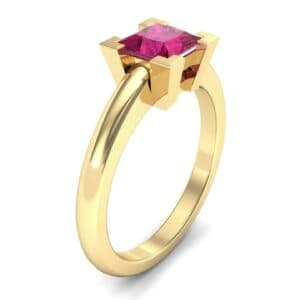 Cathedral Princess-Cut Solitaire Ruby Engagement Ring (0.67 Carat)