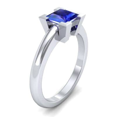Cathedral Princess-Cut Solitaire Blue Sapphire Engagement Ring (0.65 CTW)