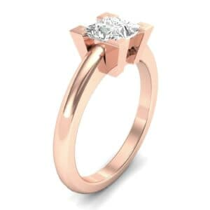 Cathedral Princess-Cut Solitaire Diamond Engagement Ring (0.67 Carat)