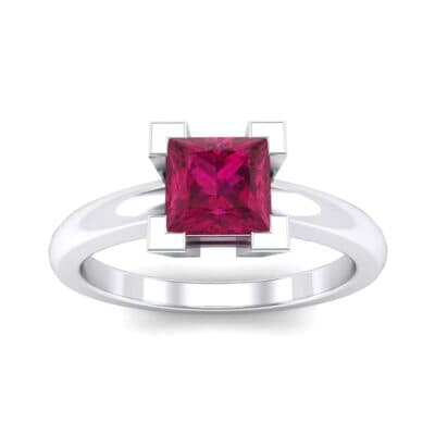 Cathedral Princess-Cut Solitaire Ruby Engagement Ring (0.65 CTW) Top Dynamic View