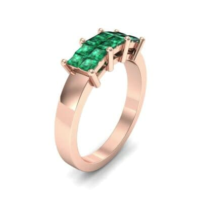 Invisible-Set Dozen Emerald Ring (0.96 CTW)