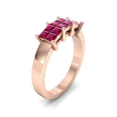 Invisible-Set Dozen Ruby Ring (0.72 Carat)