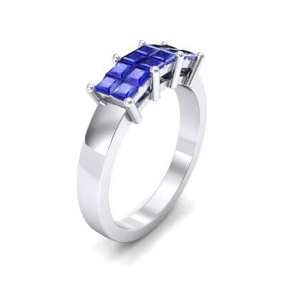 Invisible-Set Dozen Blue Sapphire Ring (0.96 CTW)