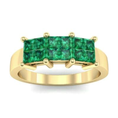 Invisible-Set Dozen Emerald Ring (0.72 Carat)