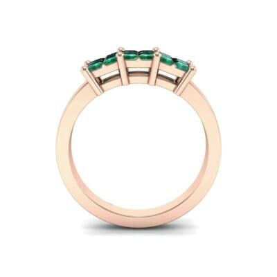 Invisible-Set Dozen Emerald Ring (0.96 CTW) Side View