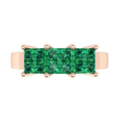 Invisible-Set Dozen Emerald Ring (0.96 CTW) Top Flat View