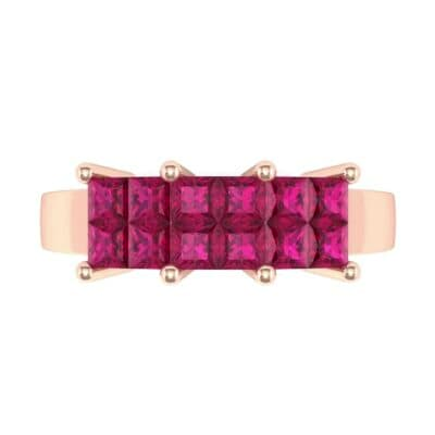 Invisible-Set Dozen Ruby Ring (0.96 CTW) Top Flat View