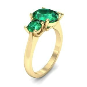 Oval and Round Three-Stone Trellis Emerald Ring (1.96 Carat)