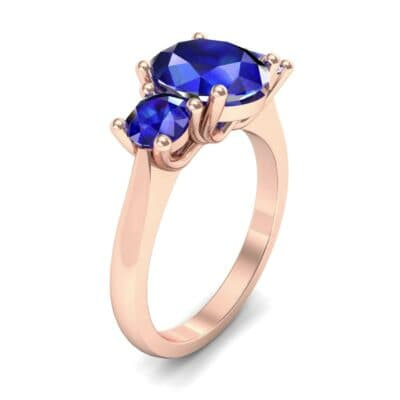Oval and Round Three-Stone Trellis Blue Sapphire Ring (1.96 Carat)