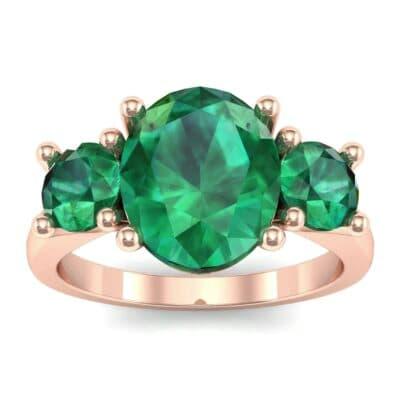 Oval and Round Three-Stone Trellis Emerald Ring (1.96 Carat)