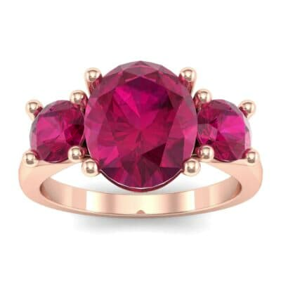 Oval and Round Three-Stone Trellis Ruby Ring (1.96 Carat)