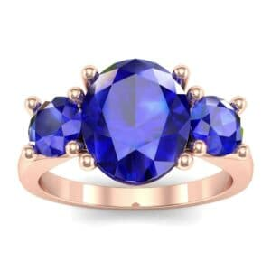 Oval and Round Three-Stone Trellis Blue Sapphire Ring (1.96 Carat)