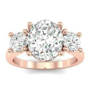 Oval and Round Three-Stone Trellis Diamond Ring (1.96 Carat)