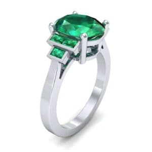 Stepped Baguette Oval Emerald Ring (5.65 Carat)