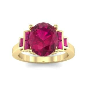Stepped Baguette Oval Ruby Ring (5.65 Carat)