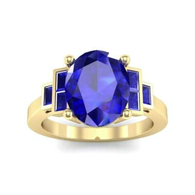 Stepped Baguette Oval Blue Sapphire Ring (5.65 Carat)