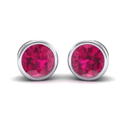Bezel-Set Round Brilliant Ruby Stud Earrings (0.7 Carat)