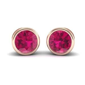 Bezel-Set Round Brilliant Ruby Stud Earrings (0.7 Carat)