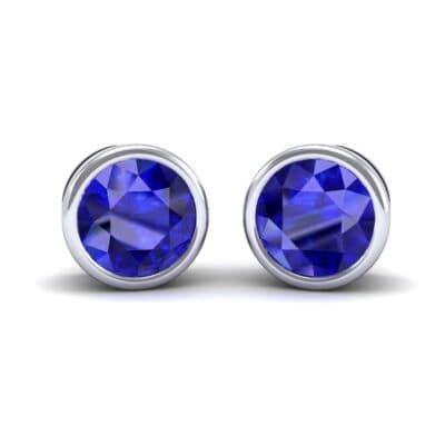 Bezel-Set Round Brilliant Blue Sapphire Stud Earrings (0.7 Carat)