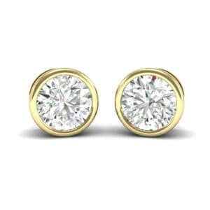 Bezel-Set Round Brilliant Diamond Stud Earrings (0.5 Carat)
