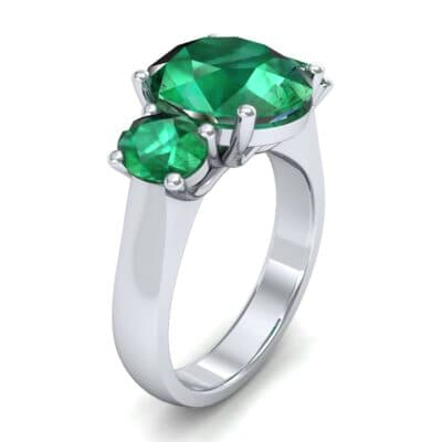 Oval Three-Stone Trellis Emerald Ring (4.71 CTW)