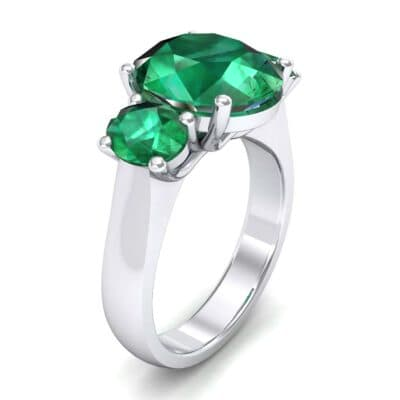 Oval Three-Stone Trellis Emerald Ring (4.71 CTW)