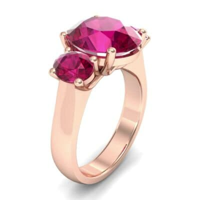 Oval Three-Stone Trellis Ruby Ring (4.71 CTW)