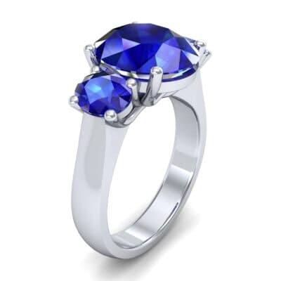 Oval Three-Stone Trellis Blue Sapphire Ring (4.71 CTW)
