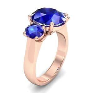 Oval Three-Stone Trellis Blue Sapphire Ring (4.71 Carat)