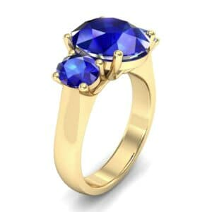 Oval Three-Stone Trellis Blue Sapphire Ring (4.71 Carat)