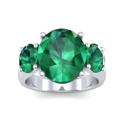 Oval Three-Stone Trellis Emerald Ring (4.71 Carat)