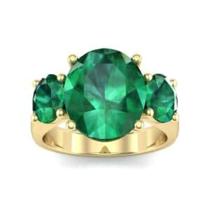 Oval Three-Stone Trellis Emerald Ring (4.71 Carat)