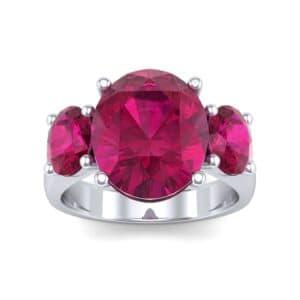 Oval Three-Stone Trellis Ruby Ring (4.71 Carat)