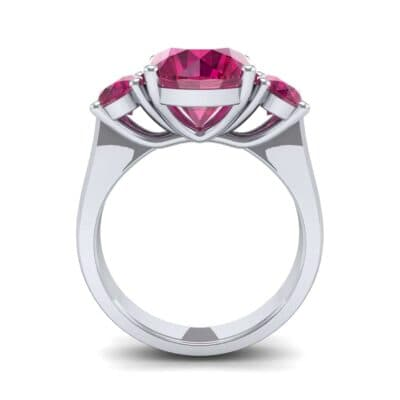 Oval Three-Stone Trellis Ruby Ring (4.71 CTW) Side View