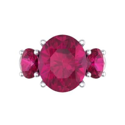 Oval Three-Stone Trellis Ruby Ring (4.71 CTW) Top Flat View