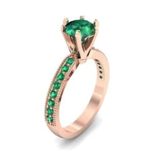 Six-Prong Milgrain Pave Emerald Engagement Ring (0.9 Carat)