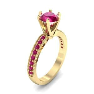 Six-Prong Milgrain Pave Ruby Engagement Ring (0.9 Carat)